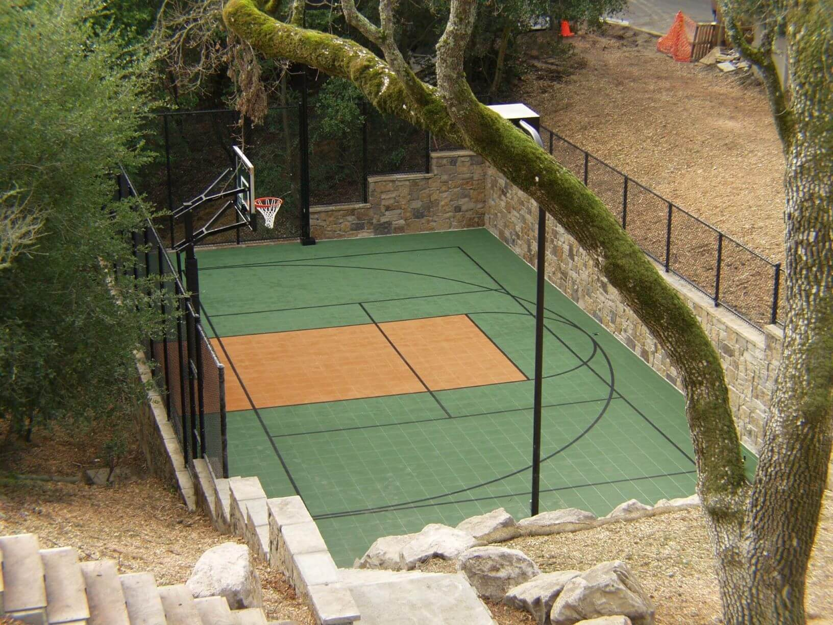 Backyard Custom Sport Court Multi Court Basketball Tennis Pickleball Court Builder Retaining Wall Landscape Backyard Design
