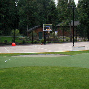 Sport Court and Custom Backyard Putting Green
