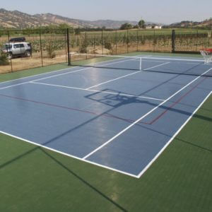 Backyard Residential Tennis Court Custom Basketball Volleyball striping Sonoma Napa Vacaville Fairfield Davis Sacramento Sport Court