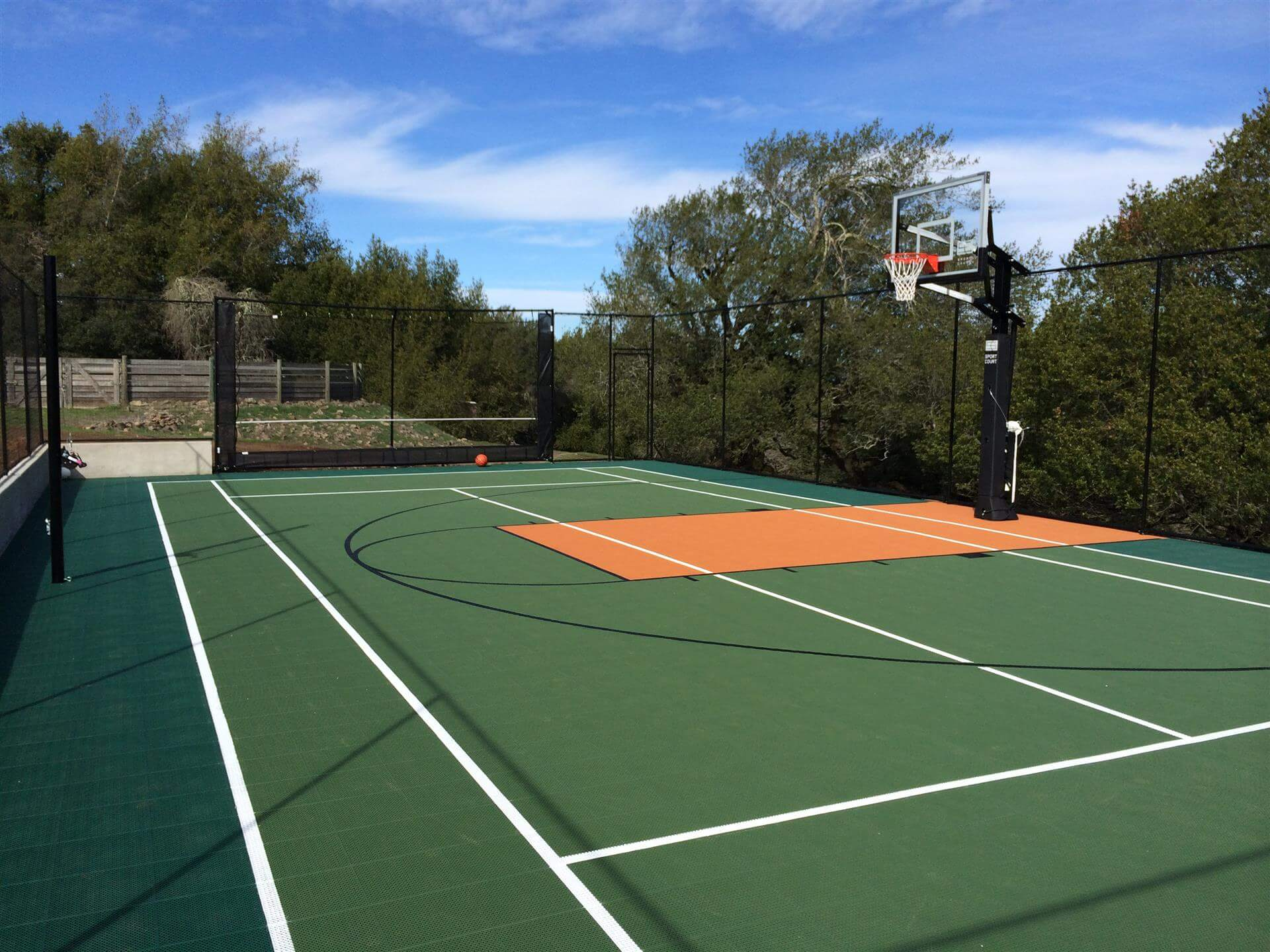 Backyard Sport Court Game Court Basketball, Tennis, Pickleball, Volleyball and Futsal Court. Landscape Design. AllSport America Court Builders