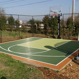 Backyard Basketball Court and Ball Containment Fencing