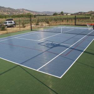Backyard Residential Tennis Court Sport Court Vacaville, Sacramento, Reno, Sparks