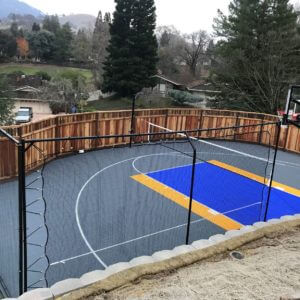 Backyard Basketball Court Sport Court Warriors Colors Golden State