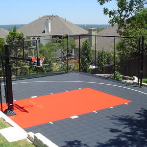Backyard Basketball Court Orange and Grey with Rebounder and Basketball Hoop