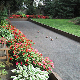 Custom backyard bocce ball court
