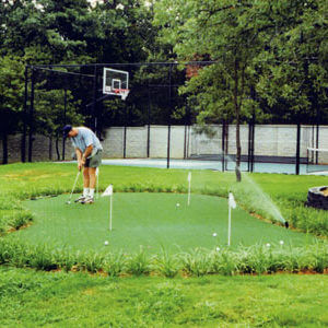 Custom Backyard Putting Green and Sport Court Game Court