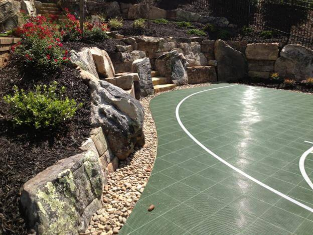 Sport Court Landscape Retaining Walls and Design