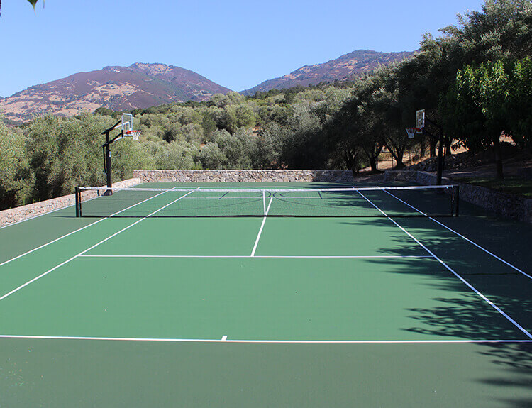 Backyard Tennis and Basketball Court