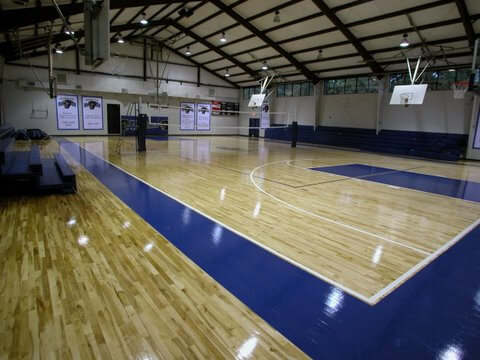 Indoor Sport Court Northern California wood maple installation. Indoor Gymnasium Performance Athletic sports flooring. AllSport America